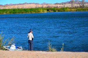 Here I am calculating the current of the Colorado River before kayaking.